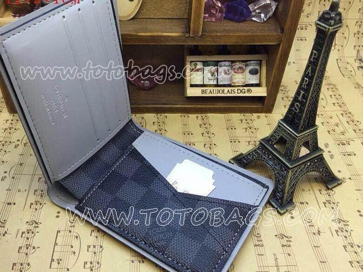 ルイヴィトンポルトフォイユ・ミュルティプル財布 N63259 ルイヴィトンダミエ グラフィット二つ折り財布