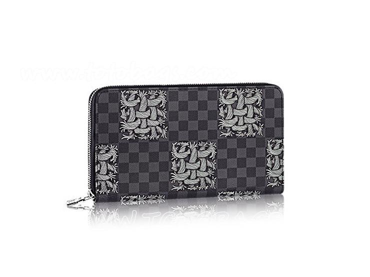ルイヴィトン2015秋冬ショーランドファスナー財布ダミエのロープ柄 N61214 ジッピー・オーガナイザー ダミエ・グラフィット 財布