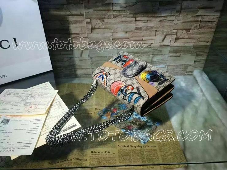 グッチバッグスーパーコピー 〔ディオニュソス〕 エンブロイダリー付き GGスプリーム キャンバス ショルダーバッグ 5色選択可 ショルダーバッグ 28x18x9cm