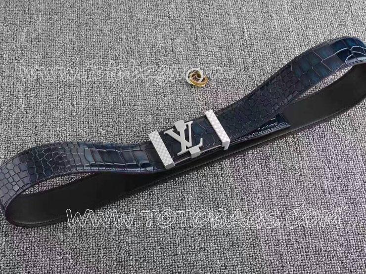 ルイヴィトンコピー 銀色のベルトヘッド 牛革(鰐皮模様) シルバー金具