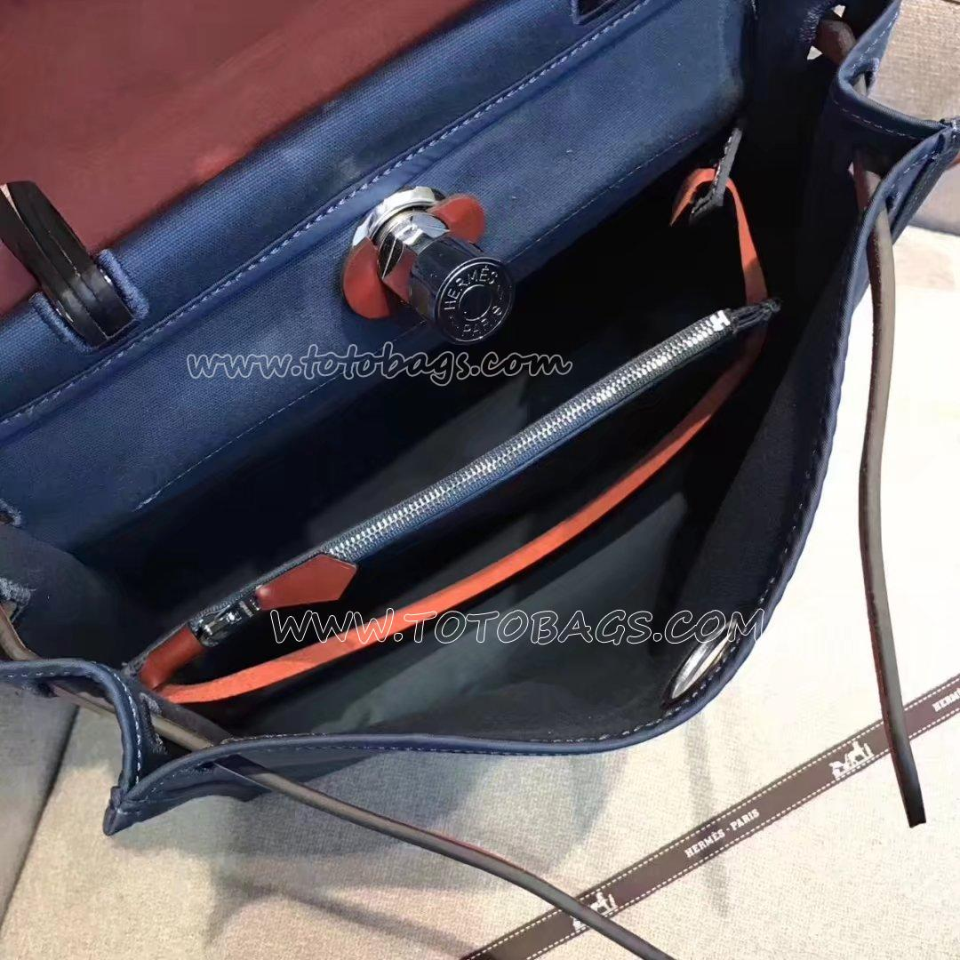 エルメスケリー32cm  トワルアッシュ ハンドバッグ ボックスカーフ