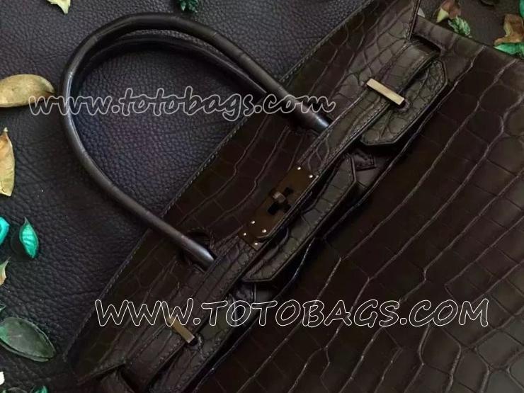 HERMES エルメス ハンドバッグ バーキン30 フューシャ クロコダイルポロサス 烏金色金具