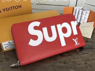ルイ・ヴィトン シュプリーム 長財布 コピー 「LOUIS VUITTON x SUPREME」 ジッピー・オーガナイザー エピ ラウンドファスナー長財布 M67723R 赤×白