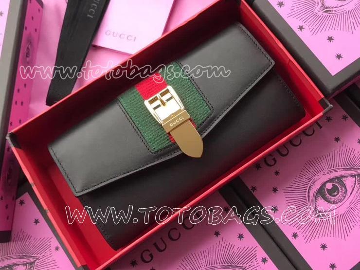 476084 CWLSG 1060 GUCCI グッチ シルヴィ 長財布 スーパーコピー コンチネンタルウォレット レディース 二つ折り財布 3色選択可 ブラック レザー