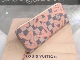 N60099 ルイヴィトン ダミエ・アズール 長財布 スーパーコピー 「LOUIS VUITTON」 ポルトフォイユ・クレマンス ヴィトン レディース ラウンドファスナー財布 白xピンク