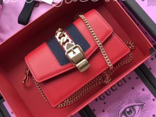 494646 CWLSG 6473 グッチ シルヴィ バッグ コピー GUCCI Sylvie Mini Chain Bag ミニ チェーンショルダーバッグ 3色可選択 レッド レザー