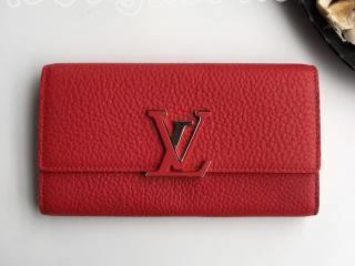 M61471 ルイヴィトン トリヨン 長財布 コピー 「LOUIS VUITTON」 ポルトフォイユ・カプシーヌ ヴィトン レディース 二つ折り財布 5色可選択 レッド&シルバー金具