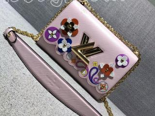M54858 ルイヴィトン エピ バッグ コピー ツイスト MM ポップな花柄 ヴィトン レディース  LOUIS VUITTON チェーンショルダーバッグ 3色 ピンク