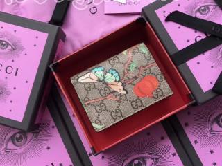 424896 K0L2G 8691 グッチ ティアン 財布 スーパーコピー Gucci Tian GGスプリーム カードケース 二つ折り財布 レッド レザー トリム