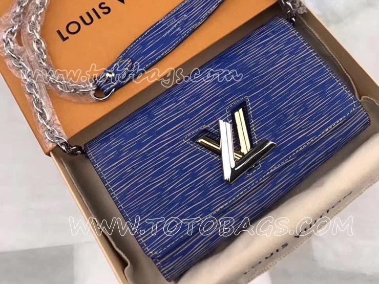 M61036 ルイヴィトン エピ 長財布 スーパーコピー LOUIS VUITTON ポルトフォイユ・ツイスト エピ・デニム ヴィトン レディース チェーン二つ折り財布