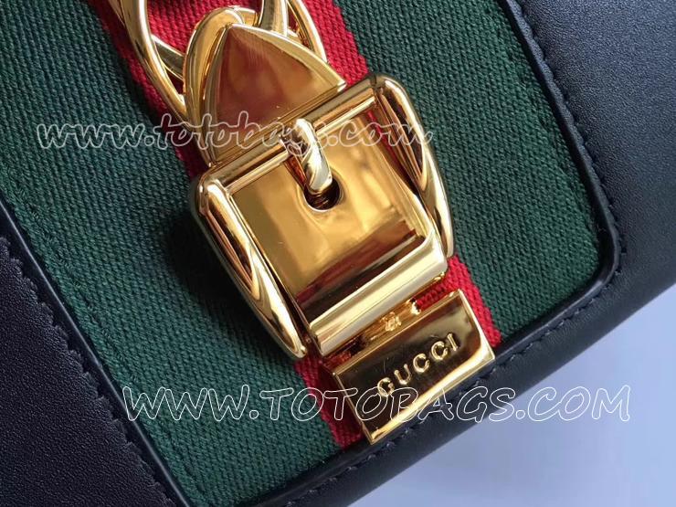 453790 DSVKG 8638 グッチ シルヴィ バッグ スーパーコピー GUCCI Sylvie トップハンドルバッグ レディース ショルダーバッグ ブラック レザー