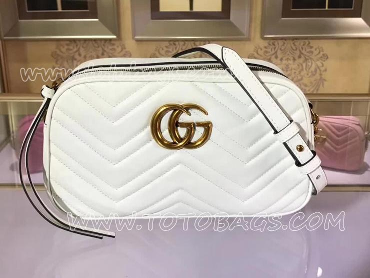 447632 DTD1D 9022 グッチ GGマーモント バッグ コピー GUCCI GG Marmont スモール レディース ショルダーバッグ 7色可選択 ホワイト レザー