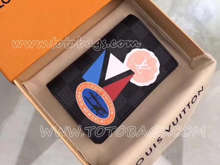 N64440 ルイヴィトン ダミエ・グラフィット 財布 コピー 「LOUIS VUITTON」 オーガナイザー・ドゥ ポッシュ ヴィトン LVリーグ メンズ 二つ折り財布