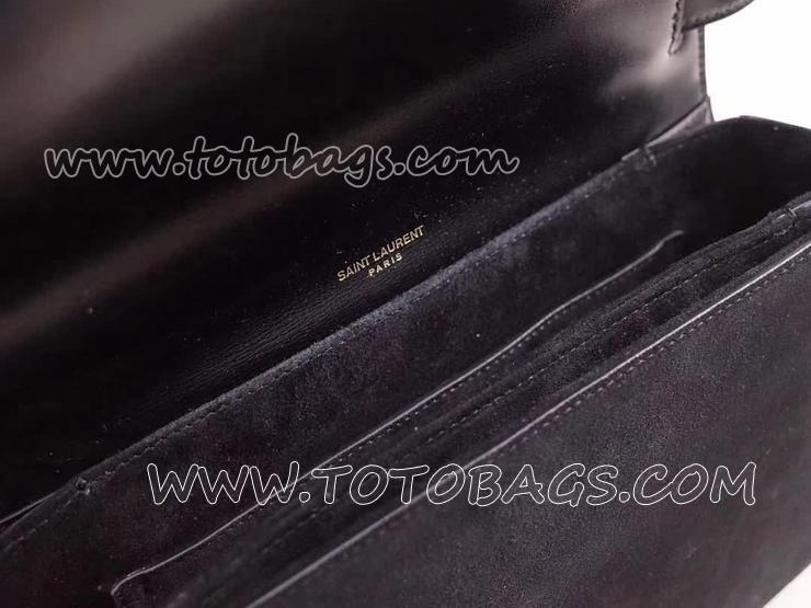 482044D423W1000 サンローラン レディース バッグ コピー Saint Laurent ベルシャス サンローランバッグ ミディアム/ブラック/レザー&スエード