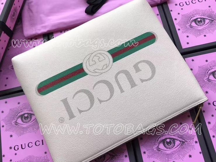 500981 0GCAT 8820 グッチ バッグ スーパーコピー 〔GUCCI〕 プリント ミディアムサイズ ポートフォリオ レディース クラッチバッグ 3色可選択 ホワイト レザー
