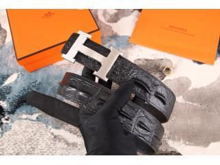 Hボタンシルバー金具 エルメスベルト 38MM 黒色 HERMES バックル レディース ベルト Hベルト