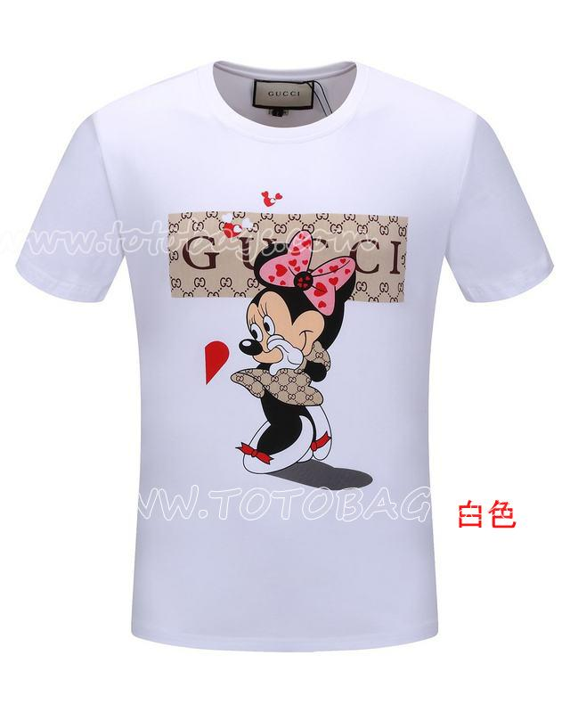 【レディース・メンズ用】  グッチ Tシャツ 半袖Tシャツ ディズニーランド 新しいデザイン丸襟