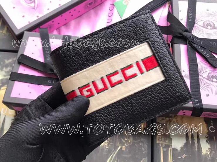 408827 CWGRN 1094 グッチ 財布 スーパーコピー GUCCI ストライプレザー ウォレット メンズ 二つ折り財布 2色選択可 ブラック