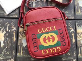 523591 0QSAT 6461 グッチ プリント バッグ コピー GUCCI メッセンジャーバッグ メンズ ショルダーバッグ 3色可選択 レッド レザー