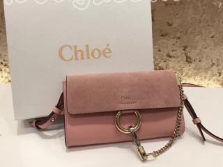 3P0796-H2O-B59 クロエ バッグ コピー「CHLOÉ FAYE」ストラップ付きウォレット ミニバッグ レディース ショルダーバッグ 5色選択可 cement pink