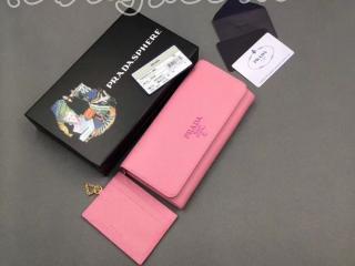 1MH132_2EBW_F0638 プラダ 財布 スーパーコピー PRADA 「サフィアーノ」レザー レディース 二つ折り長財布 5色選択可 ピンク