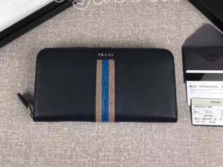 2ML317_2EB3_F0216 プラダ 長財布 スーパーコピー PRADA 「サフィアーノ」 レザー ドキュメントホルダー メンズ ラウンドファスナー財布 5色選択可 ネイビー