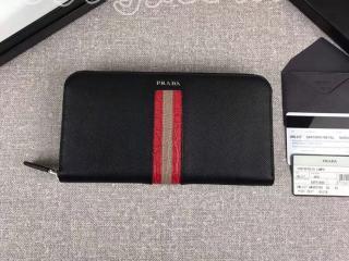 2ML317_2EB3_F034C プラダ 長財布 コピー PRADA 「サフィアーノ」 レザー ドキュメントホルダー メンズ ラウンドファスナー財布 5色選択可 ブラック