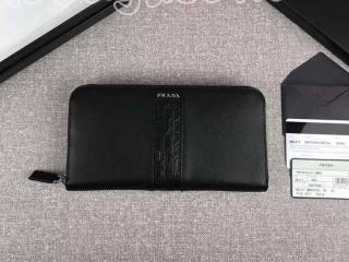 2ML317_2EB3_F0002 プラダ 長財布 スーパーコピー PRADA 「サフィアーノ」 レザー ドキュメントホルダー メンズ ラウンドファスナー財布 5色選択可 ブラック