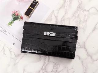 エルメス ケリー 長財布 コピー HERMES Kelly クロコ型押 レディース 二つ折り財布 シルバー金具 7色可選択 ブラック H07081