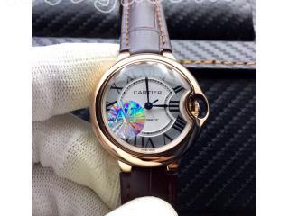 W69010Z4 カルティエ時計 バロン ブルー ドゥ  電池式時計 [文字盤]ホワイト [ケース] ピンクゴールド [ベルト]コーヒー色革  カルティエ ウォッチ 28mm