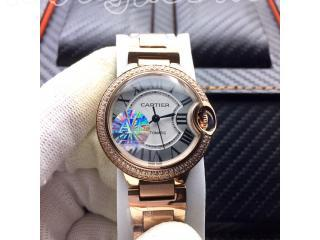 W69010Z4 カルティエ時計 バロン ブルー ドゥ  電池式時計 カルティエ ウォッチ 28mm  Cartier TANKタンク [文字盤]ホワイト [ケース]ダイヤモンドピンクゴールド アラビア数字 [ベルト]316L鋼