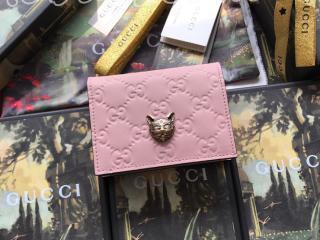 548057 0G6FT 5877 グッチ 財布 スーパーコピー GUCCI キャット グッチ シグネチャー カードケース(コイン&紙幣入れ付き) レディース 二つ折り財布 3色可選択 ピンク