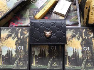 548057 0G6FT 1000 グッチ 財布 コピー GUCCI キャット グッチ シグネチャー カードケース(コイン&紙幣入れ付き) レディース 二つ折り財布 3色可選択 ブラック