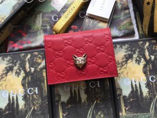 548057 0G6FT 6433 グッチ 財布 スーパーコピー GUCCI キャット グッチ シグネチャー カードケース(コイン&紙幣入れ付き) レディース 二つ折り財布 3色可選択 レッド