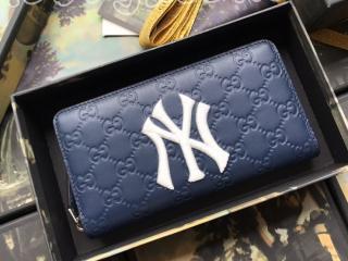 547791 DMTIN 4769 グッチ 長財布 コピー GUCCI ニューヨーク・ヤンキース™ パッチ ジップアラウンドウォレット レディース ラウンドファスナー財布 3色可選択 ロイヤルブルー