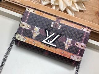 M63594 ルイヴィトン ダミエ 長財布 スーパーコピー 「LOUIS VUITTON」 ポルトフォイユ・ツイスト チェーン その他キャンバス レディース 二つ折り財布