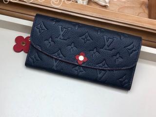 M63918 ルイヴィトン モノグラム・アンプラント 長財布 コピー 「LOUIS VUITTON」 ポルトフォイユ・エミリ レディース 二つ折り財布 2色可選択 マリーヌルージュ