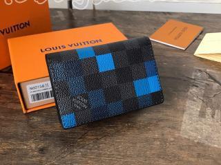 N60158 ルイヴィトン ダミエ・グラフィット 財布 スーパーコピー 「LOUIS VUITTON」 オーガナイザー・ドゥ ポッシュ メンズ 二つ折り財布 2色可選択 ブルー