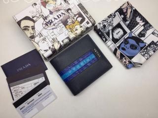 2MO513_2EB3_F0S9K プラダ 財布 コピー PRADA Saffiano 「サフィアーノ」レザー クロコダイル メンズ 二つ折り財布 2色可選択 ネイビー/ブルー