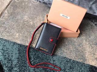 5MV017_2BC3_F0002 ミュウミュウ 財布 スーパーコピー MIUMIU マドラス レザー レディース 二つ折り財布 4色可選択 ブラック