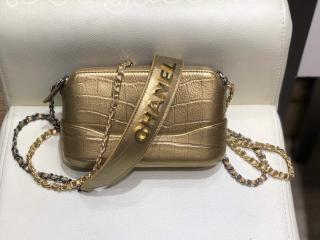 A94505 B00814 N4775 シャネル 財布 コピー CHANEL チェーン クラッチ メタリック クロコダイル エンボス カーフスキン レディース財布 2色可選択 ゴールド