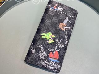 N40202 ルイヴィトン ダミエ・グラフィット 長財布 スーパーコピー 「LOUIS VUITTON」 ポルトフォイユ・ブラザ NM メンズ 二つ折り財布