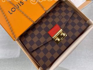 N60288 ルイヴィトン ダミエ・エベヌ 財布 スーパーコピー 「LOUIS VUITTON」 ポルトフォイユ・クロワゼット チェーン レディース 二つ折り財布 2色可選択 スカーレット
