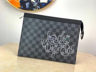 N60308 ルイヴィトン ダミエ・グラフィット バッグ スーパーコピー 「LOUIS VUITTON」ポシェット・ヴォワヤージュMM メンズ クラッチバッグ
