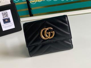 474802-1 グッチ 財布 コピー GUCCI Marmont GGマーモント マトラッセ ウォレット レディース 三つ折り財布 2色可選択