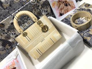 M0565OJAT_M925 ディオール バッグ コピー 21新作 Dior Lady D-Lite ミディアムバッグ Stripes エンブロイダリー レディース バッグ
